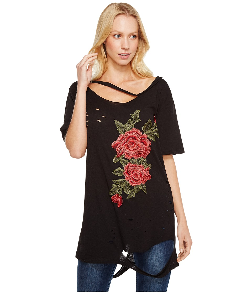 Brigitte Bailey - Darcey Rose Patch Distressed Top with Neck Cut Out (Black) Women's Clothing
