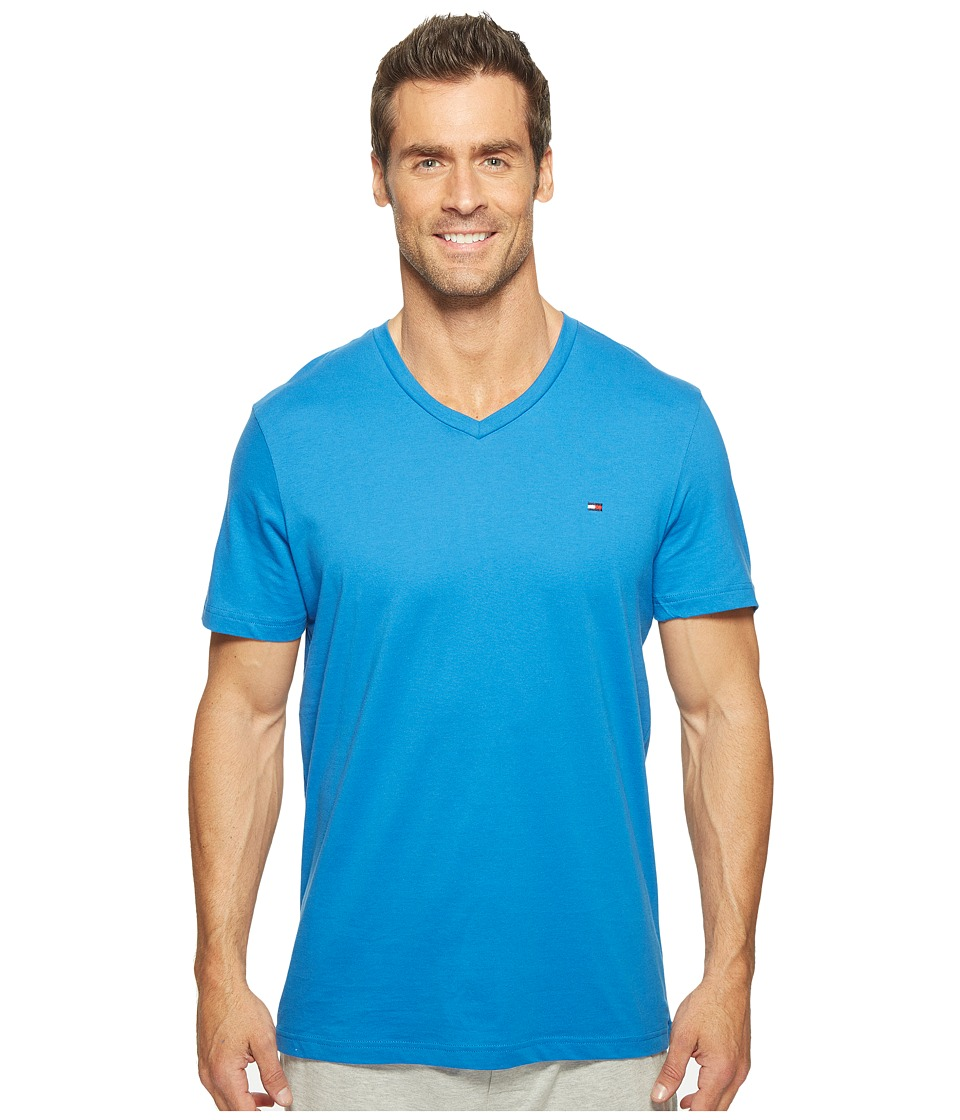 Tommy Hilfiger - Short Sleeve Core Flag V-Neck Tee (Cadet Blue) Men's Underwear