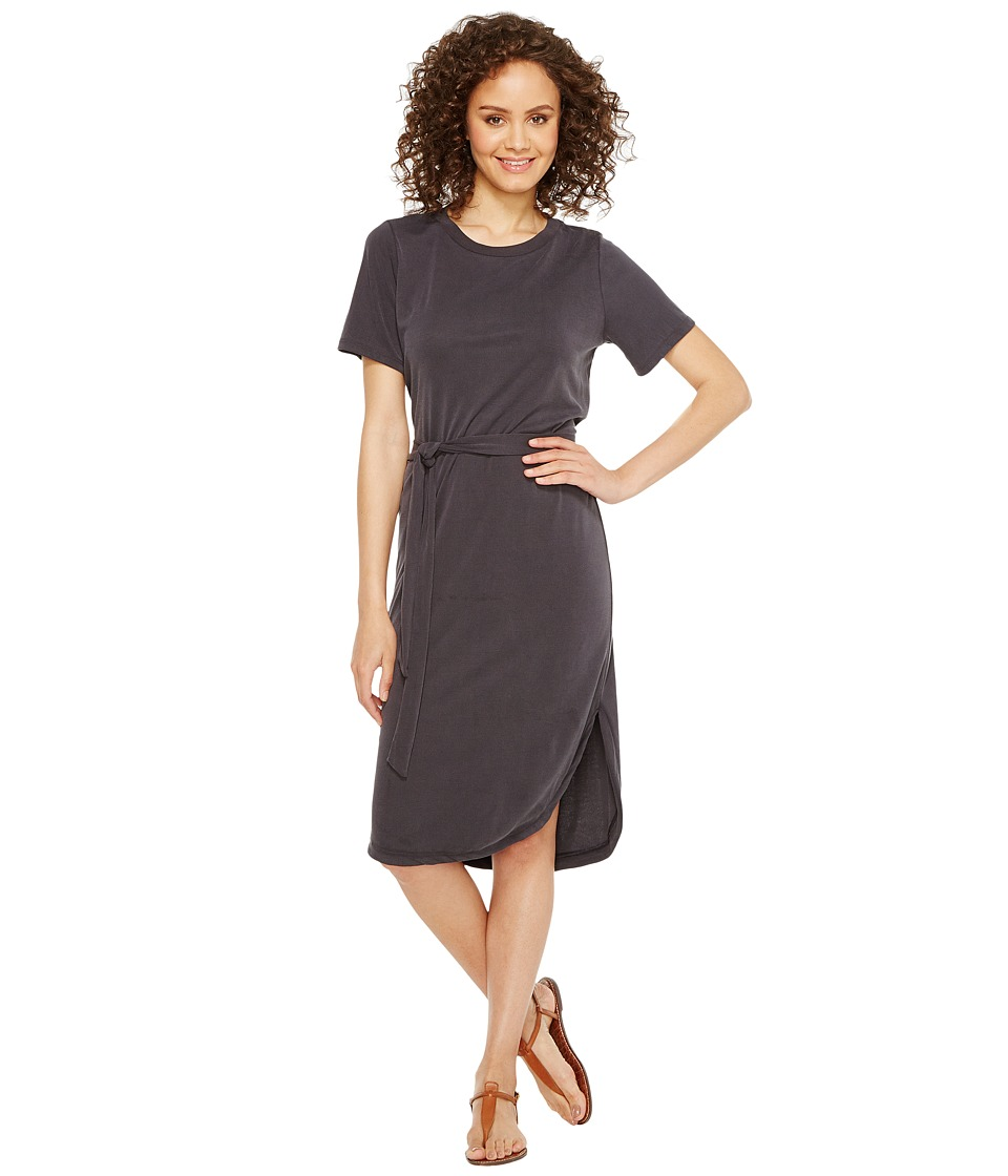 Culture Phit - Arlene Short Sleeve Midi Dress with Front Tie (Charcoal) Women's Dress