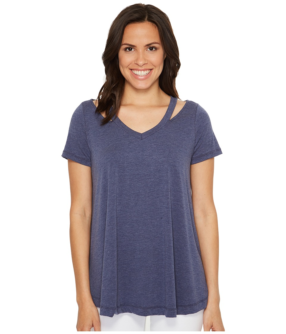 Culture Phit Lacey Short Sleeve Cut Out Top (Blue) Women