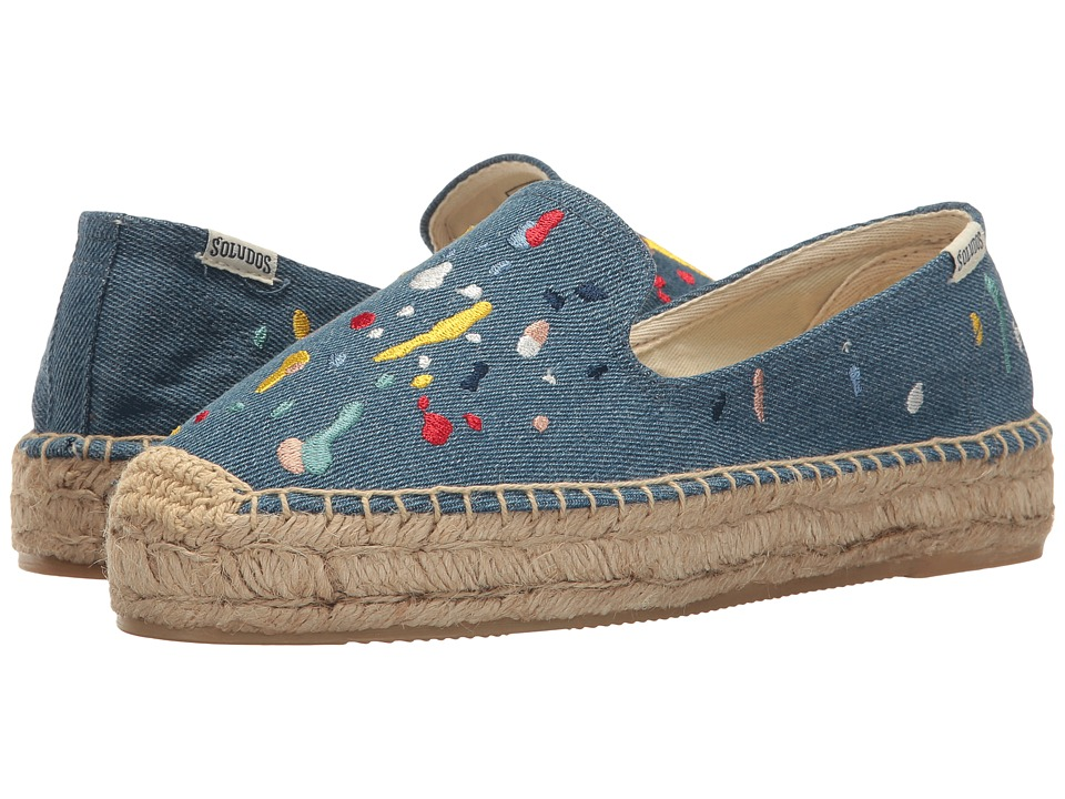 Soludos Splatter Paint Platform (Medium Denim) Women