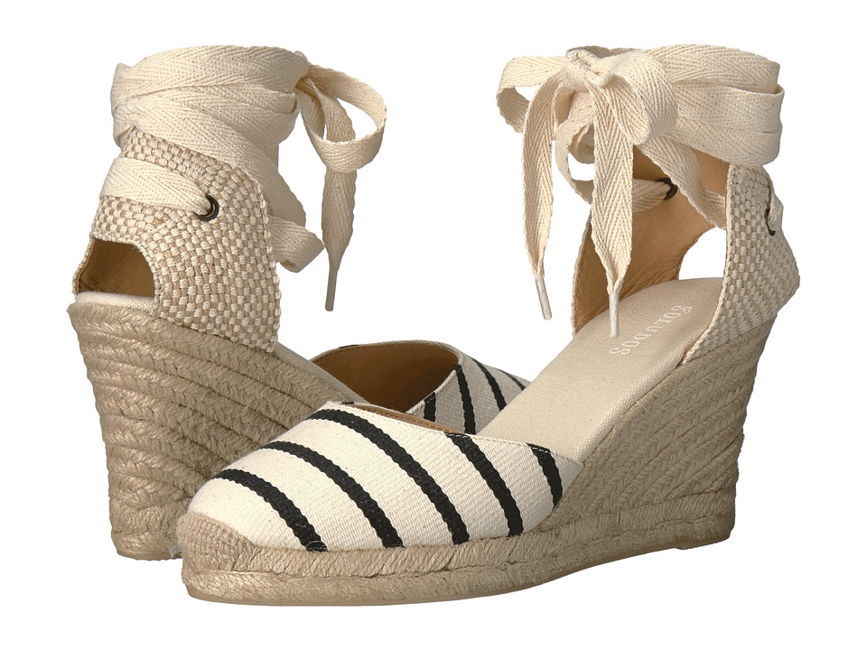 Soludos Striped Tall Wedge (Black/Natural) Women