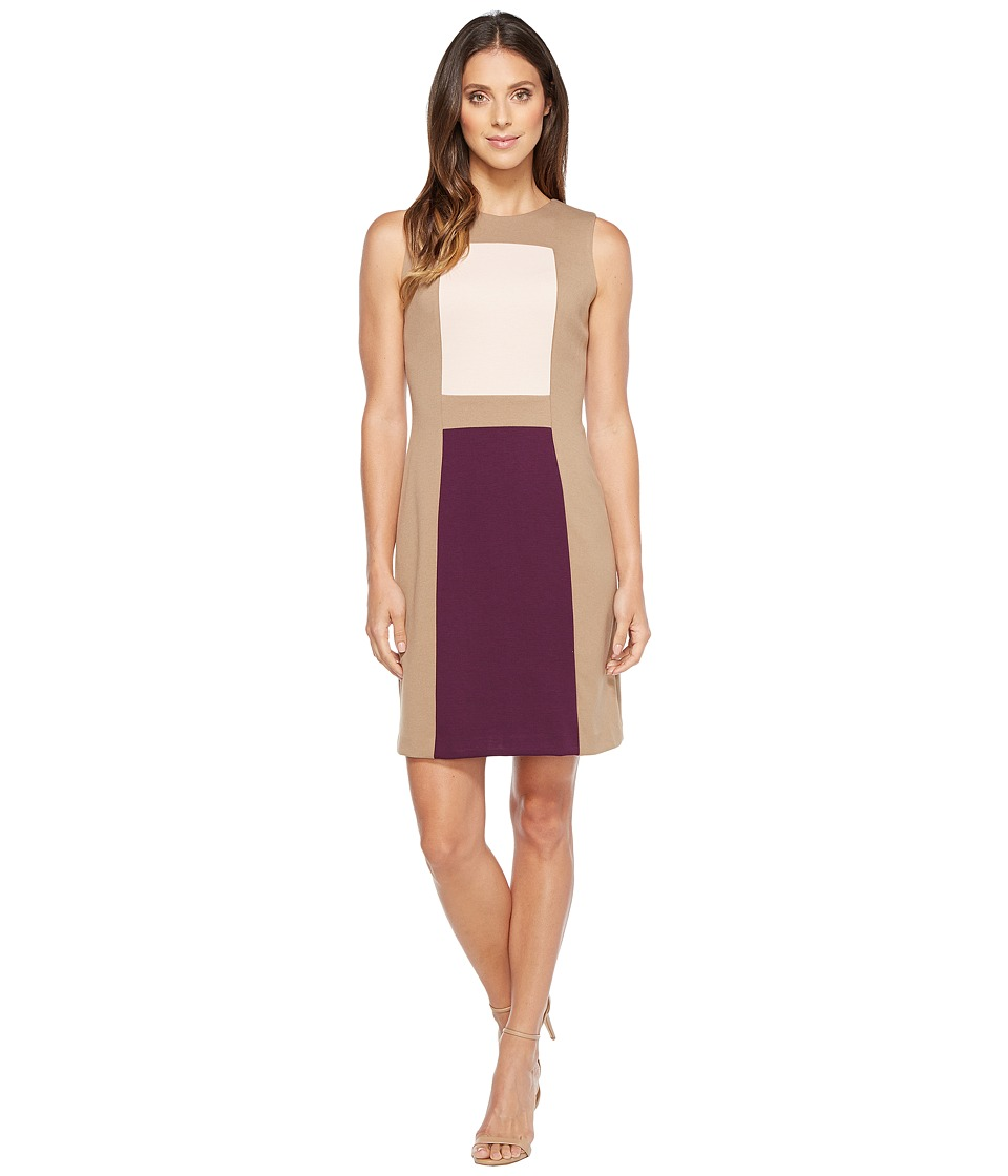 Calvin Klein - Color Block Sheath Dress (Taupe/Blush/Aubergine) Women's Dress