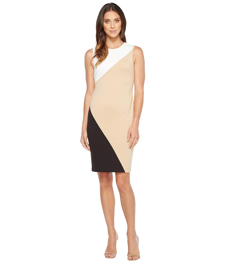 Calvin Klein Color Block Sheath Dress (Cream/Camel/Black) Women