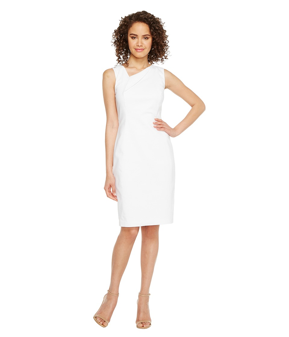 Calvin Klein - Asymmetric Neck Cotton Sheath Dress (White) Women's Dress