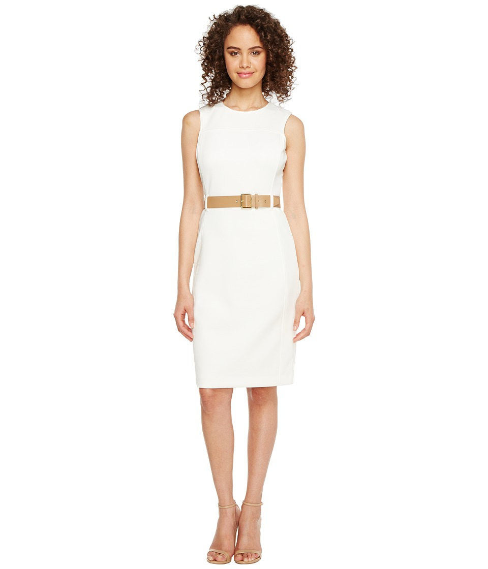 Calvin Klein Belted Scuba Sheath Dress