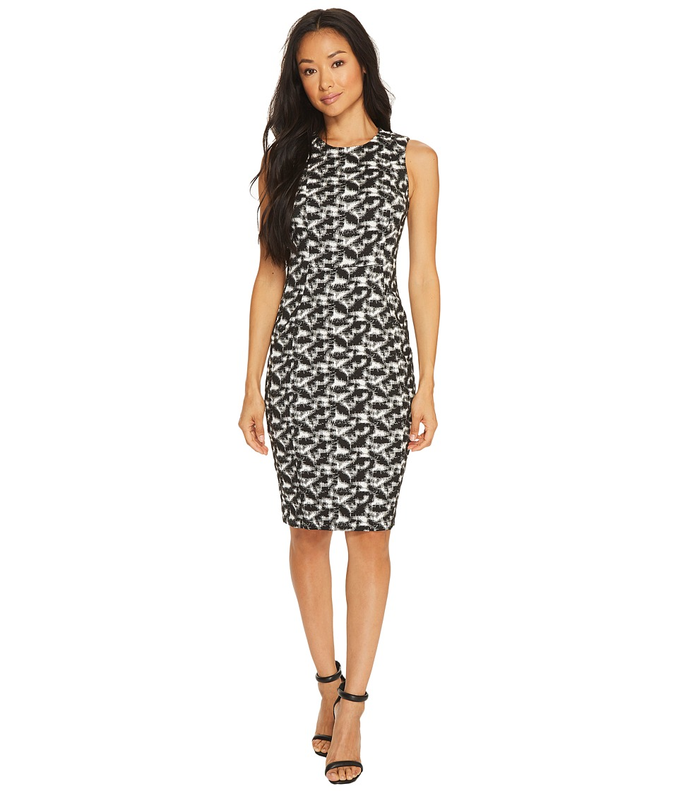 Calvin Klein - Jacquard Compression Sheath Dress (Black/White) Women's Dress
