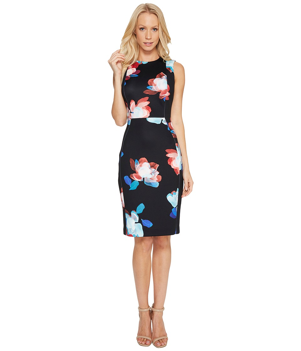 Calvin Klein - Floral Print Scuba Dress (Black Multi) Women's Dress