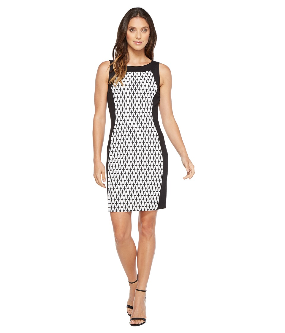 Calvin Klein - Printed Front Panel Ponte Sheath Dress (Black/Cream/Black) Women's Dress