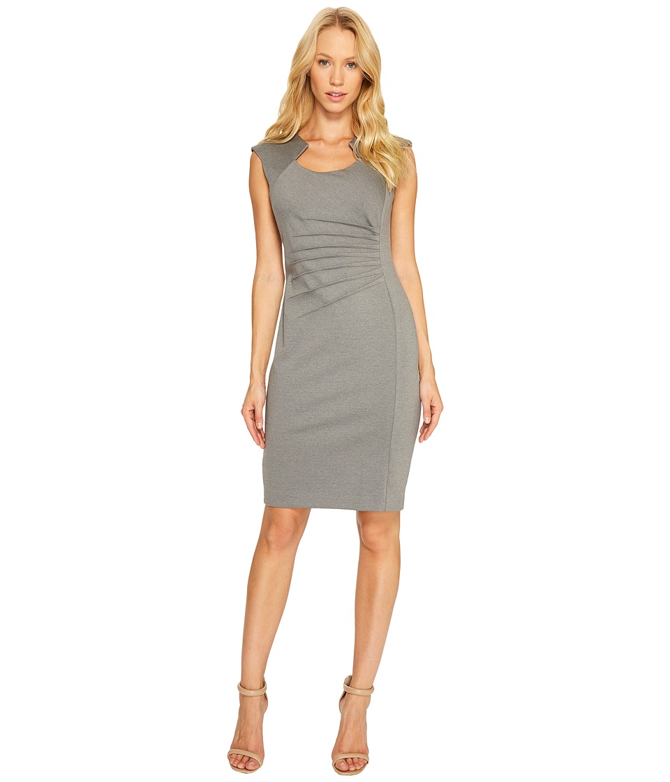 Calvin Klein - Horseshoe Neck Pintuck Detail Sheath Dress (Light Grey) Women's Dress