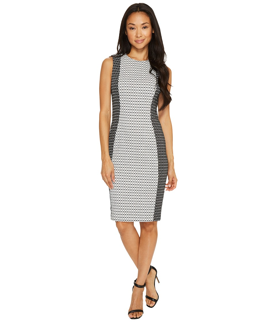 Calvin Klein - Patterned Jacquard Sheath Dress (Black/White) Women's Dress