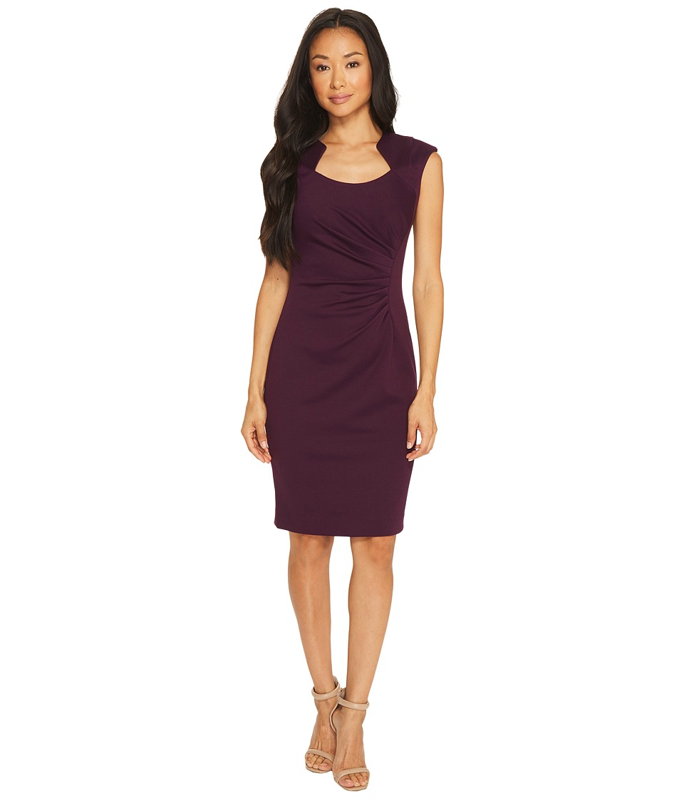 Calvin Klein - Horseshoe Neck Sheath Dress (Aubergine) Women's Dress