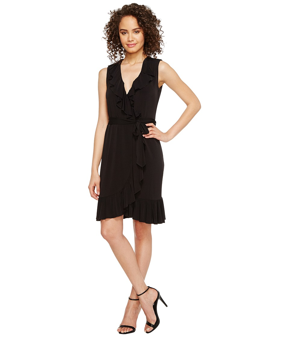 Calvin Klein Ruffle Neck Jersey Dress (Black) Women