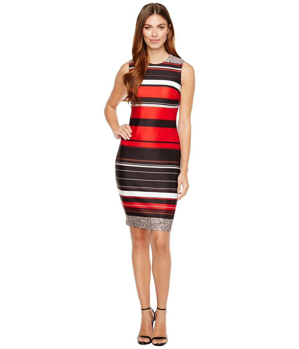 Calvin Klein - Stripe Scuba Sheath Dress (Black Multi) Women's Dress