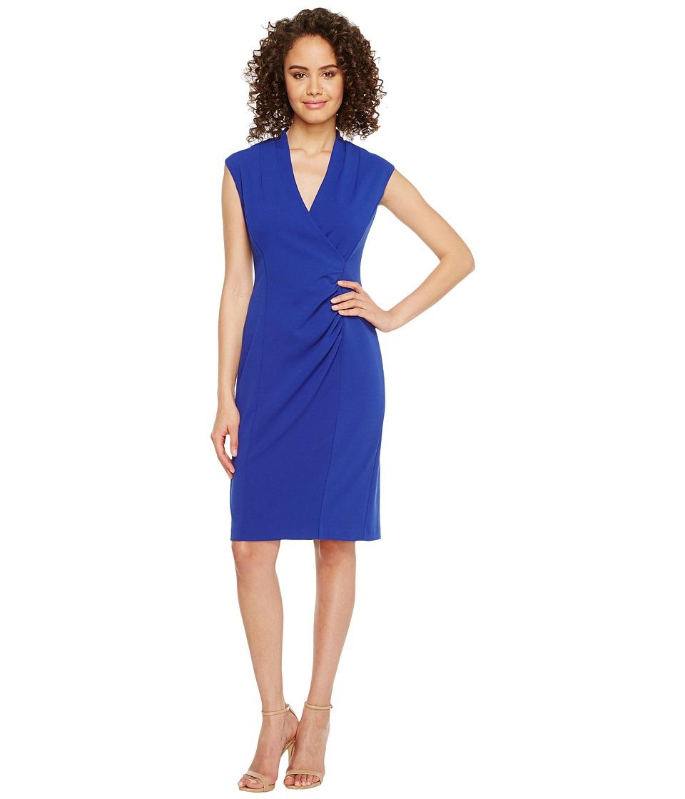 Calvin Klein - V-Neck Ruched Sheath Dress (Regatta) Women's Dress