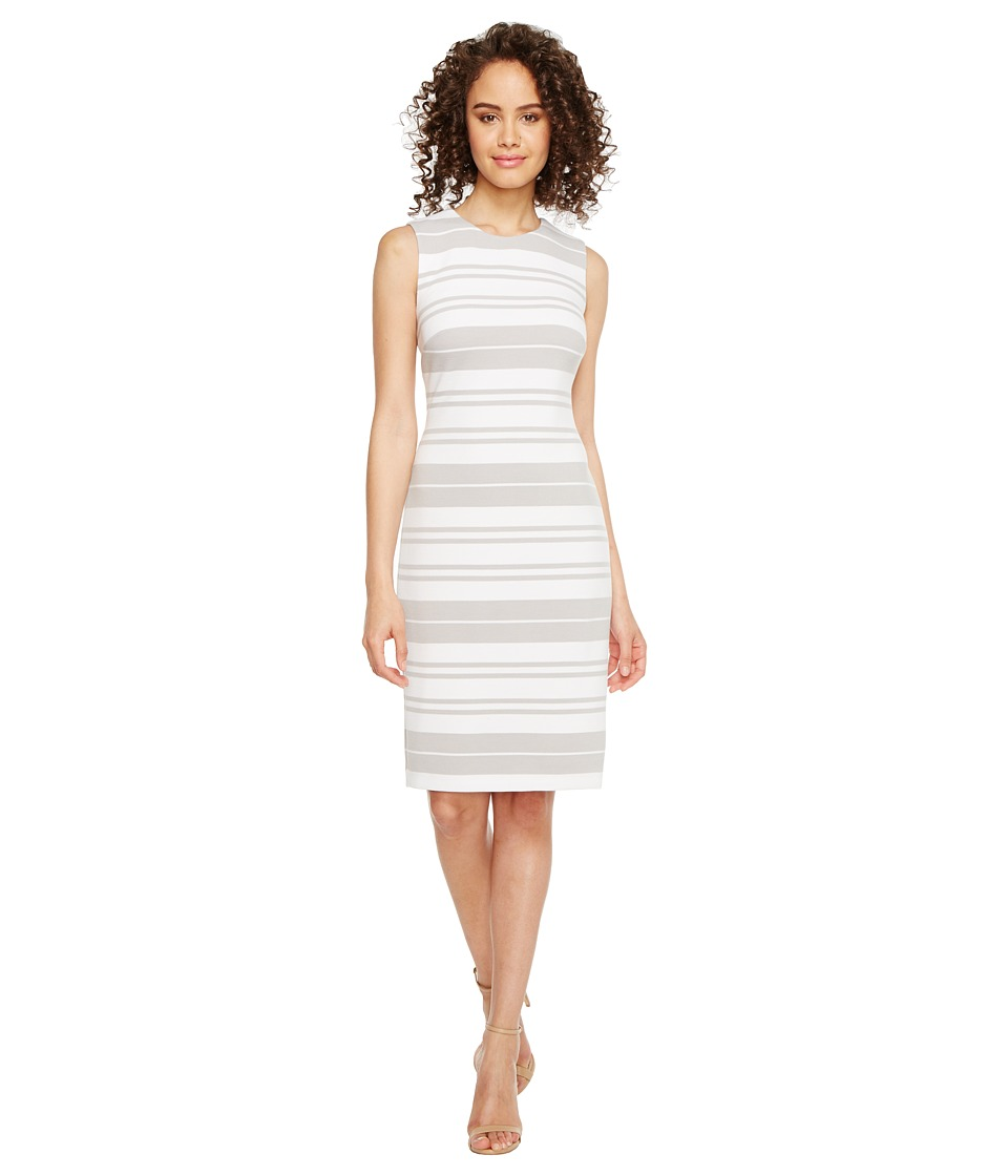Calvin Klein - Stripe Ponte Sheath Dress (White/Grey) Women's Dress
