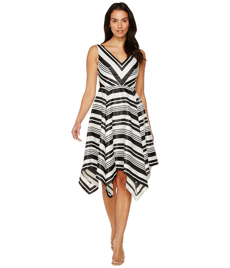 Adrianna Papell Handkerchief Skirt Dress (Black/Ivory) Women