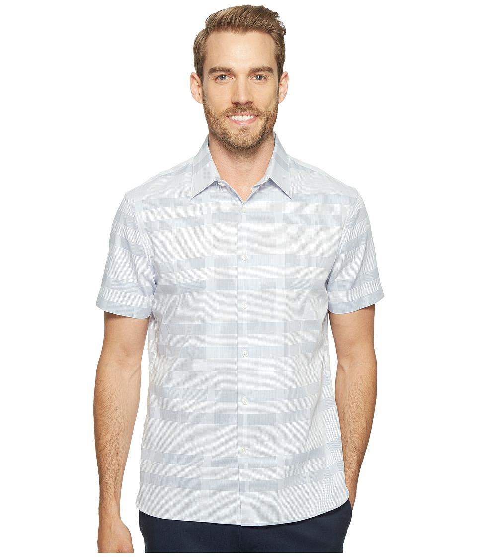 Perry Ellis - Plaid Tonal Dobby Shirt (Bijou Blue) Men's Long Sleeve Button Up