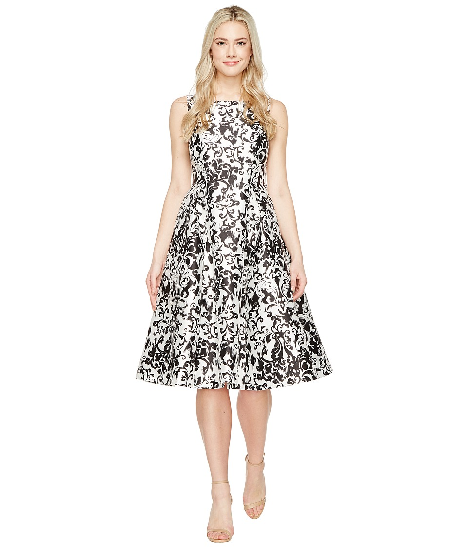 Adrianna Papell - Sleeveless Print Mikado Party Dress (White/Black) Women's Dress