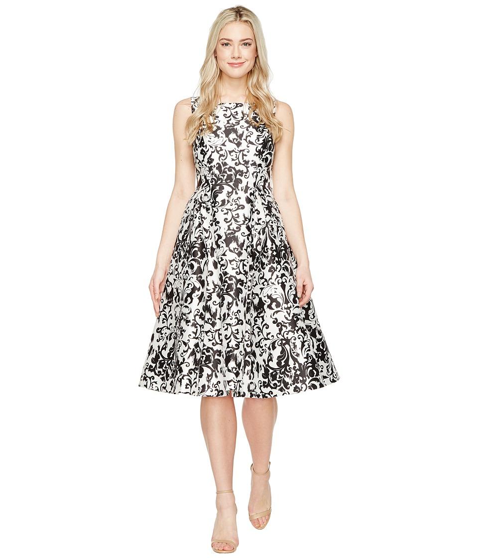 Adrianna Papell - Sleeveless Print Mikado Party Dress (White/Black) Women's Dress