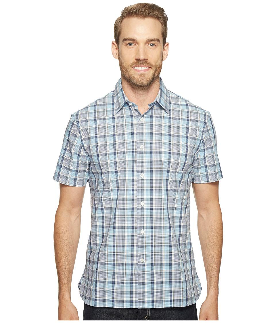 Perry Ellis - Highlight Plaid Shirt (Bijou Blue) Men's Short Sleeve Button Up