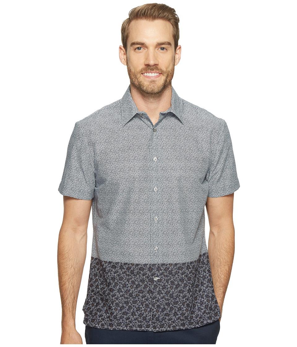 Perry Ellis - Dip Hem Color Block Poplin Shirt (Dark Sapphire) Men's Long Sleeve Button Up