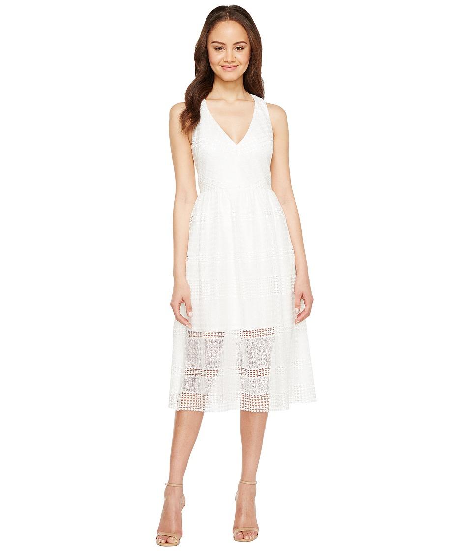 Adrianna Papell Lace Tea Length A-Line Dress (Ivory) Women
