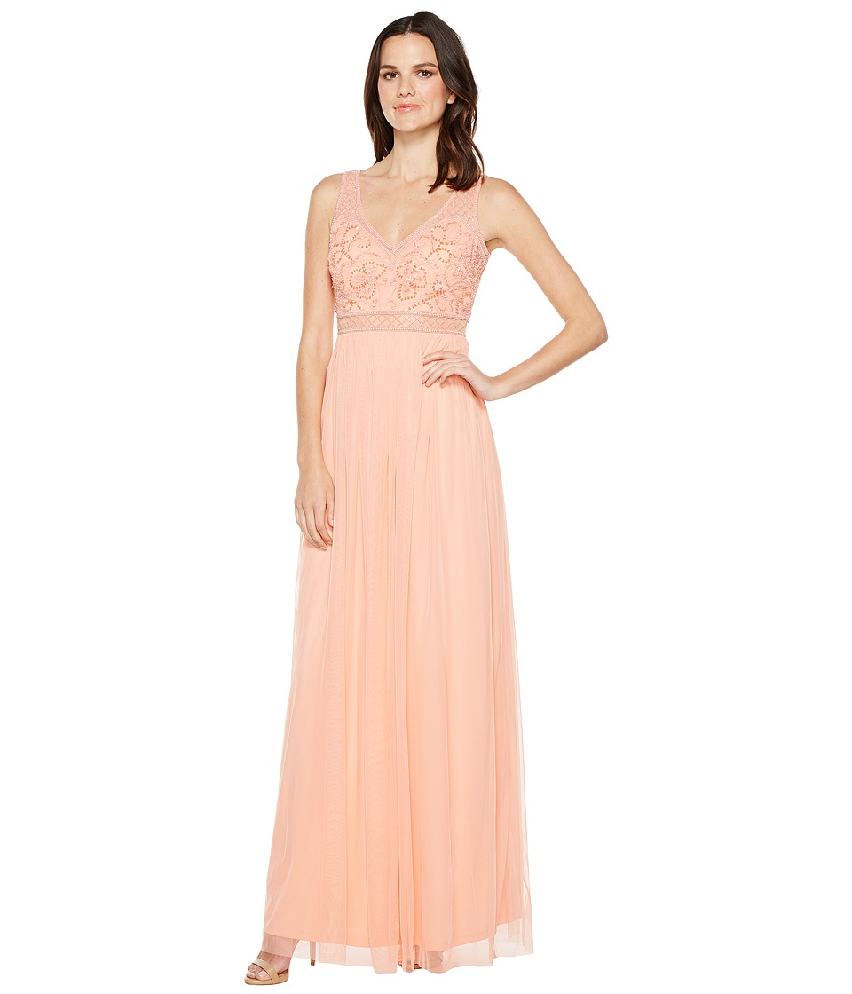 Adrianna Papell - Sleeveless Bead Gown with Shear Waistband (Coral Reef) Women's Dress