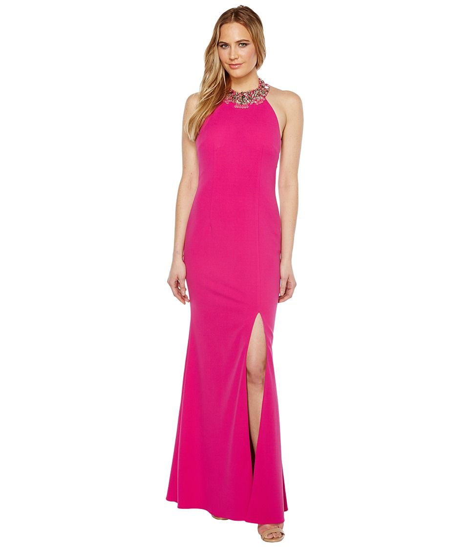 Adrianna Papell Knit Crepe Beaded Neck Gown Cool Magenta Dress