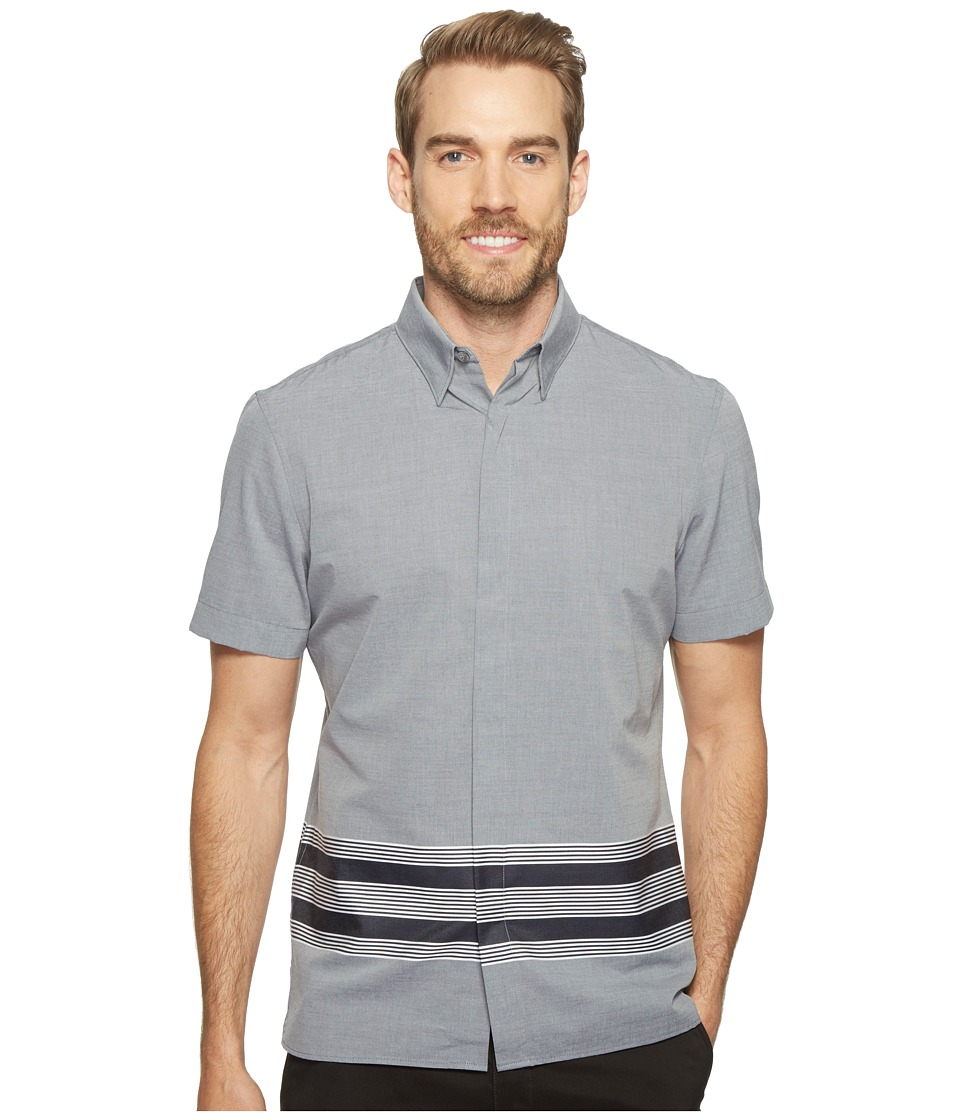 Perry Ellis - Slim Fit Engineered Hem Stripe Shirt (Eclipse) Men's Short Sleeve Button Up