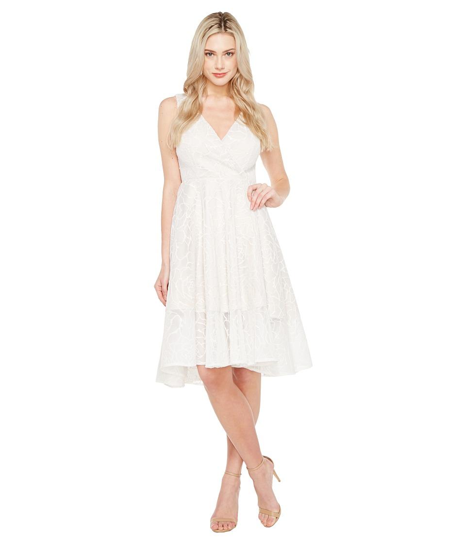 Adrianna Papell Bonded Mesh High-Low Skirt Dress (Ivory) Women