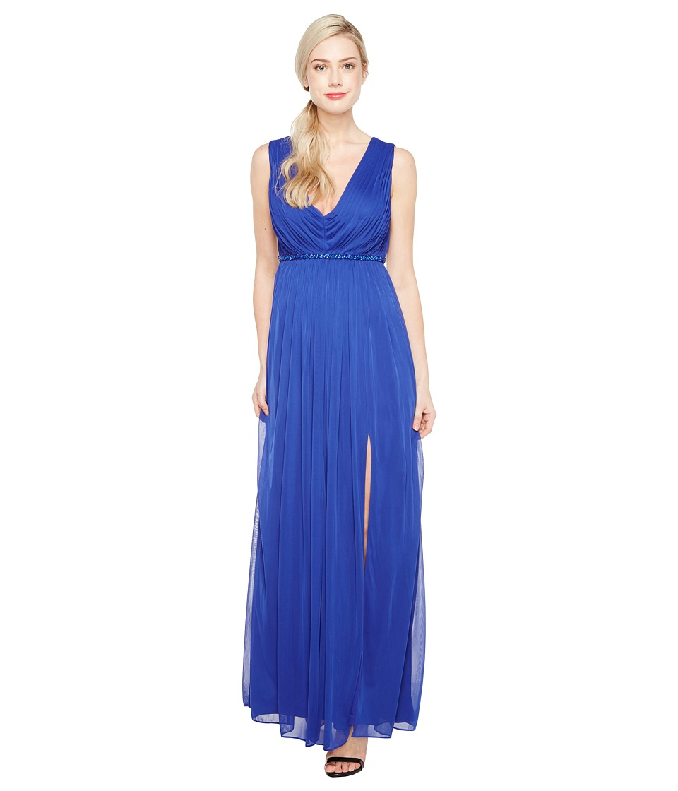 Adrianna Papell - Shirred Stretch Tulle Gown (Neptune) Women's Dress