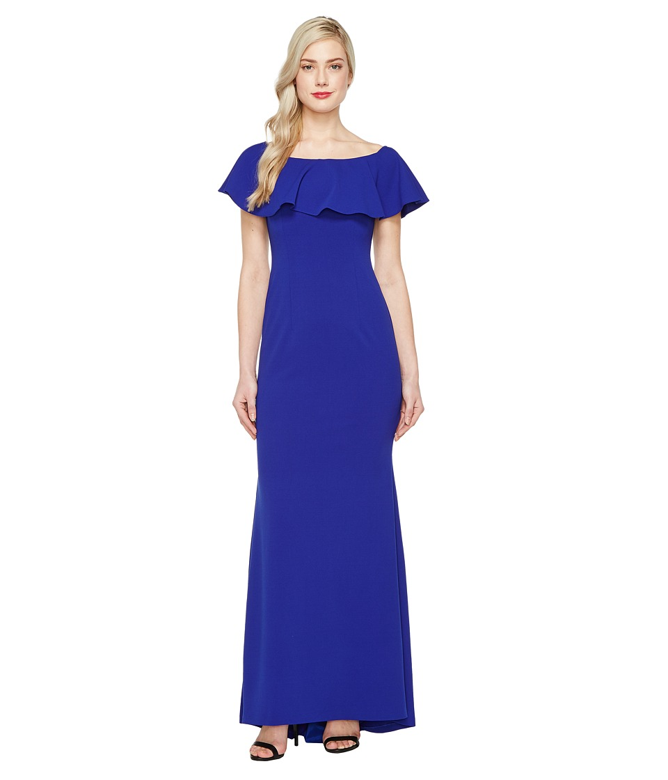 Adrianna Papell - Knit Crepe Flounce Bodice Gown (Neptune) Women's Dress