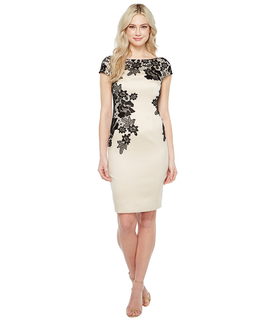 Adrianna Papell Appliqued Lace Sheath Dress (Champagne) Women