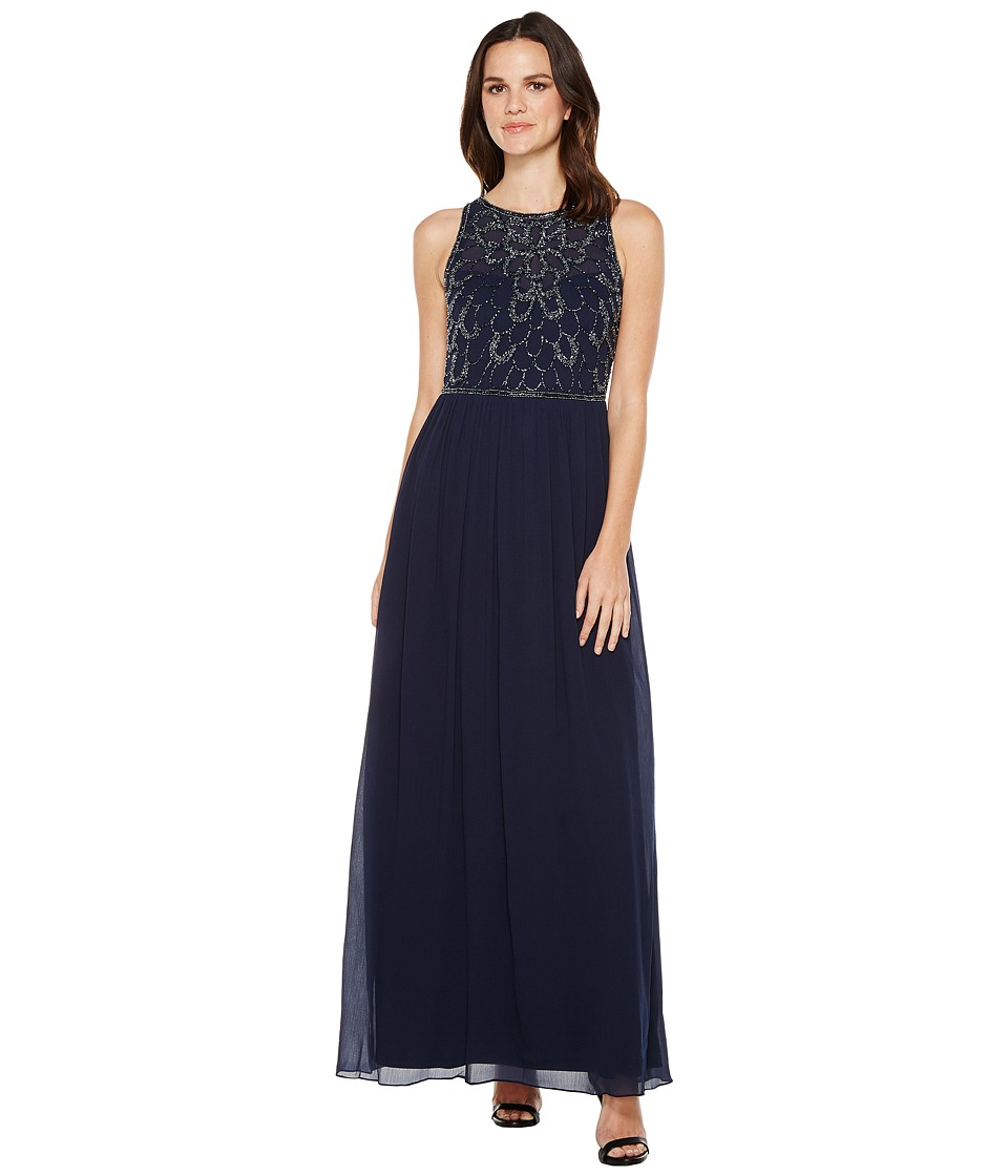 Adrianna Papell - Sleeveless Beaded Georgette Gown (Midnight) Women's Dress