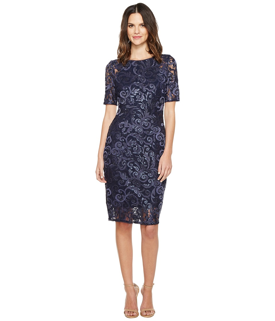 Adrianna Papell - Stretch Sequin Raglan Sheath Dress (Midnight) Women's Dress