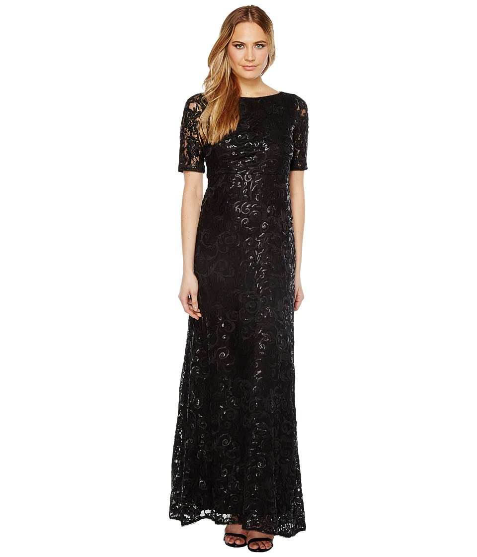 Adrianna Papell - Stretch Tulle and Sequin Gown (Black) Women's Dress