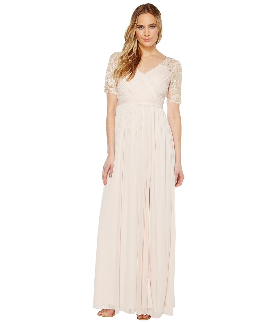 Adrianna Papell - Stretch Sequin and Tulle Gown (Blush) Women's Dress