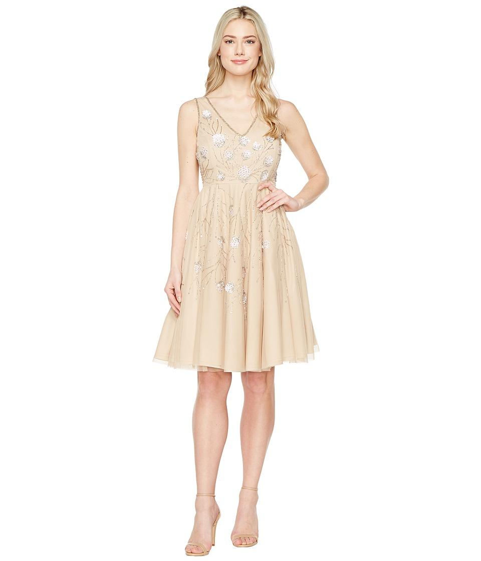 Adrianna Papell - Sleeveless Tea Length Beaded Dress (Champagne) Women's Dress