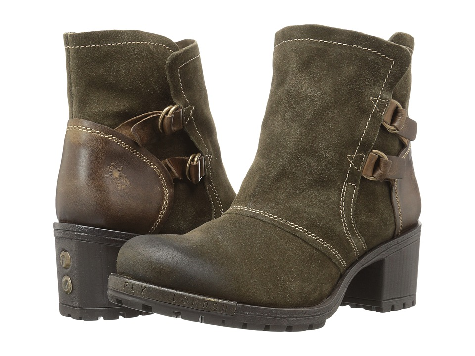 FLY LONDON Lory048Fly (Sludge/Olive Oil Suede/Rug) Women