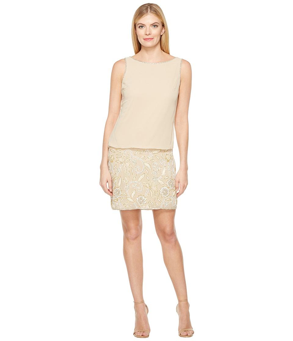 Adrianna Papell Beaded Blouson Cocktail Dress (Light Gold) Women
