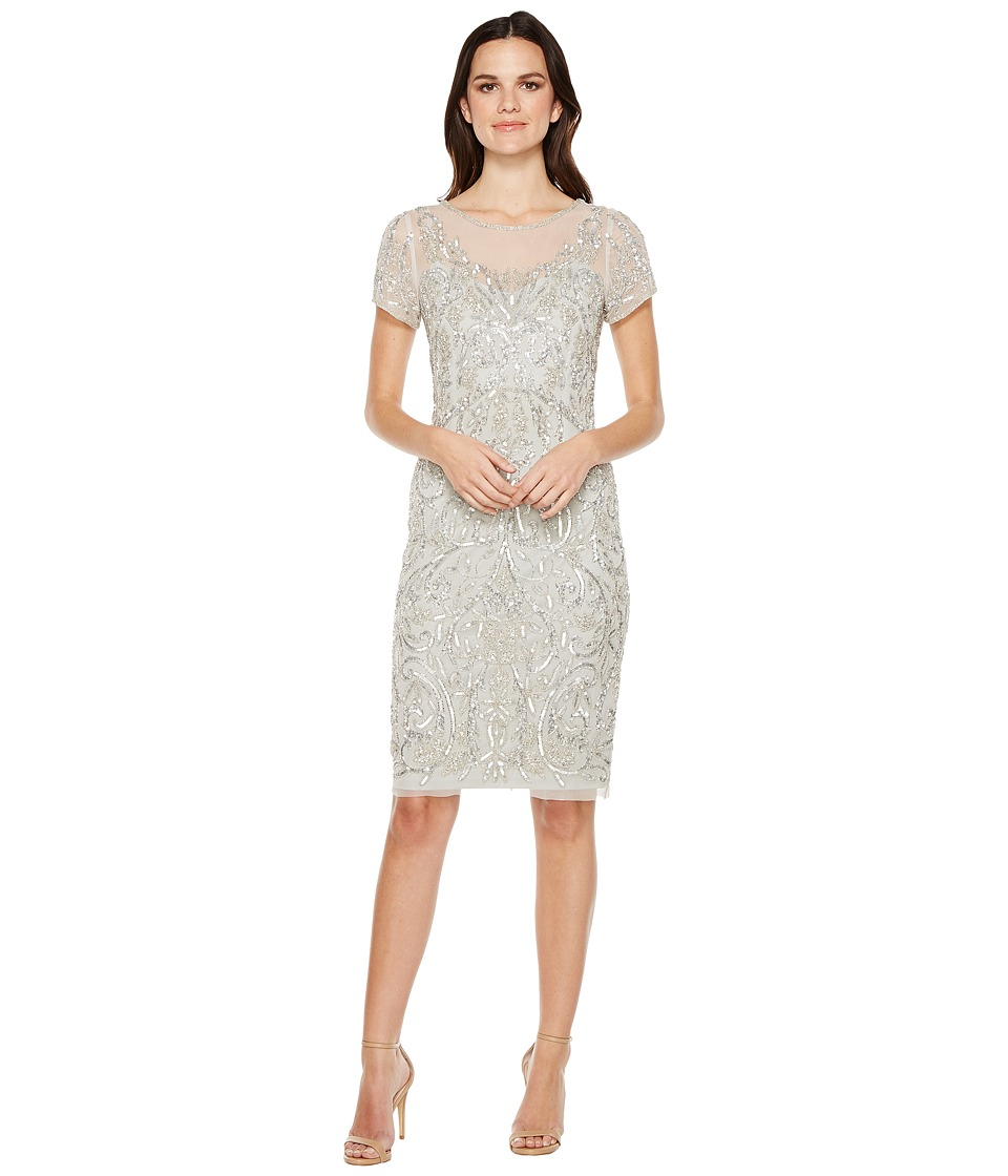 Adrianna Papell - T-Shirt Pegged Dress with Beads (Ice Silver) Women's Dress