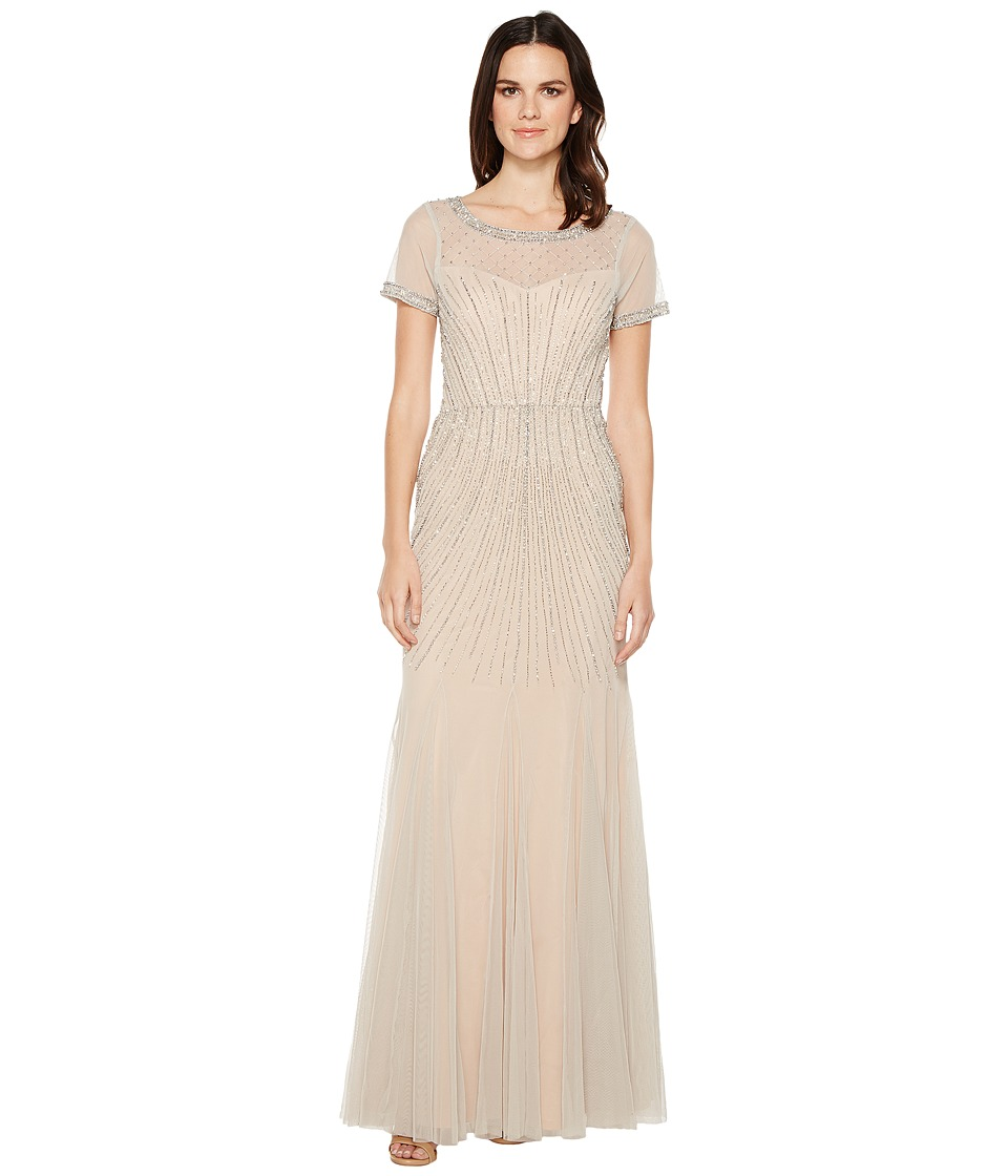 Adrianna Papell Gride Beaded Gown with Godets Silver-Nude Dress