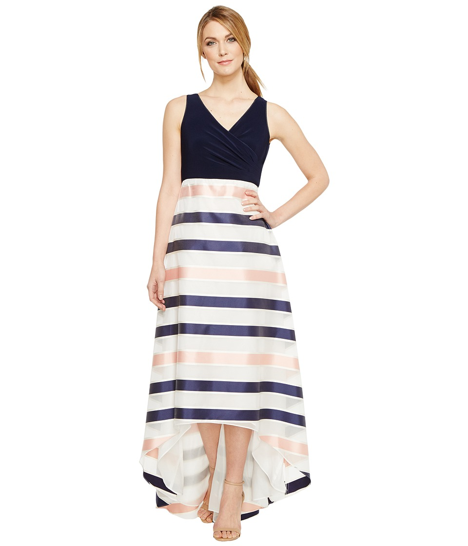 Adrianna Papell - Jersey Organza Stripe Dress (Navy/Ivory/Pink) Women's Dress