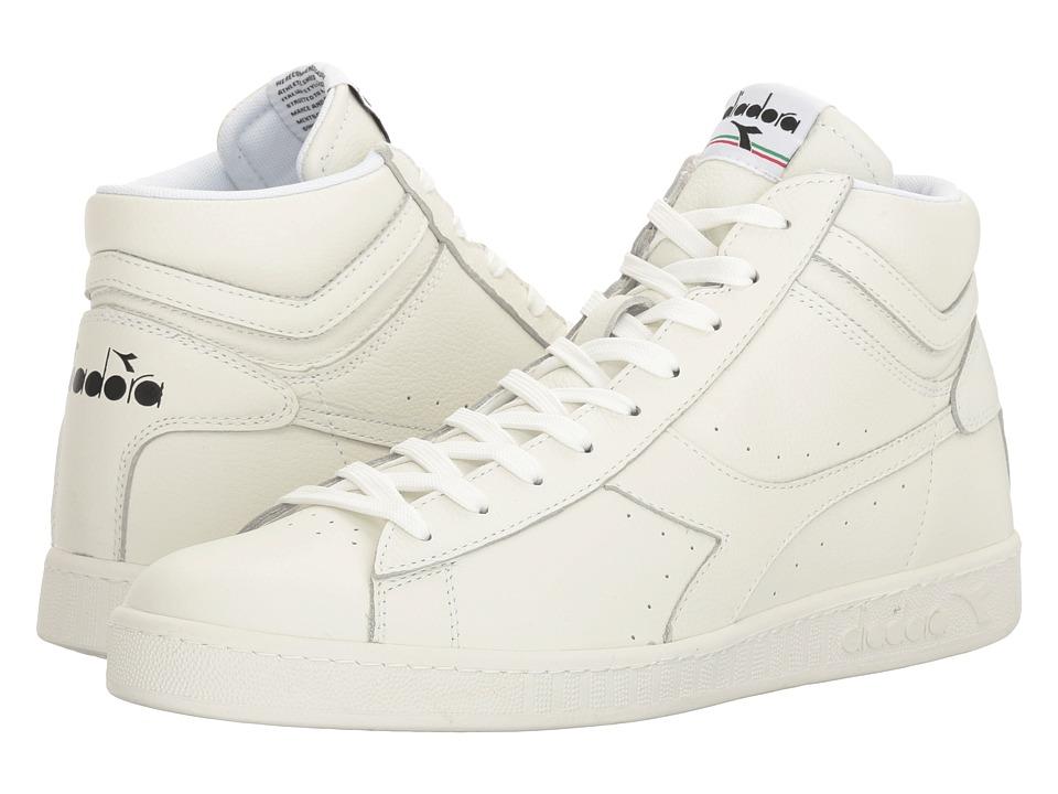 Diadora - Game L High Waxed (White/White/Black) Athletic Shoes
