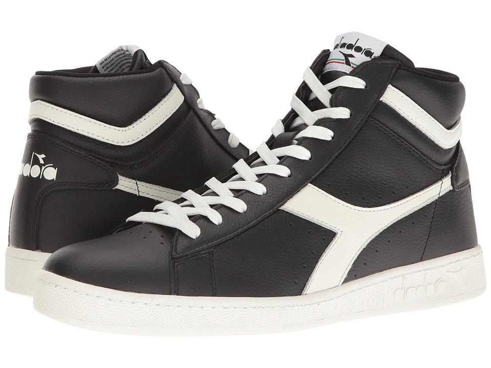 Diadora - Game L High Waxed (Black/White/Black) Athletic Shoes