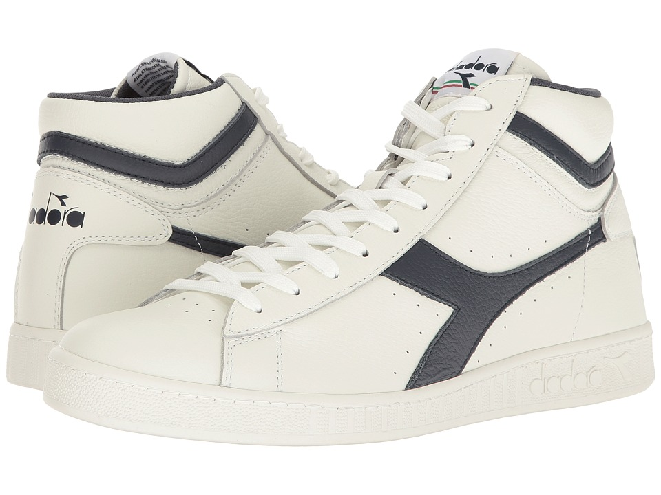 Diadora Game L High Waxed (White/Dress Blues/White) Athletic Shoes