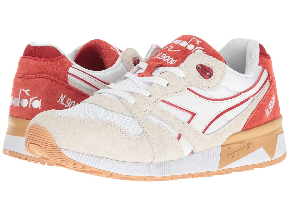 Diadora N9000 III (White/Red Capital) Athletic Shoes