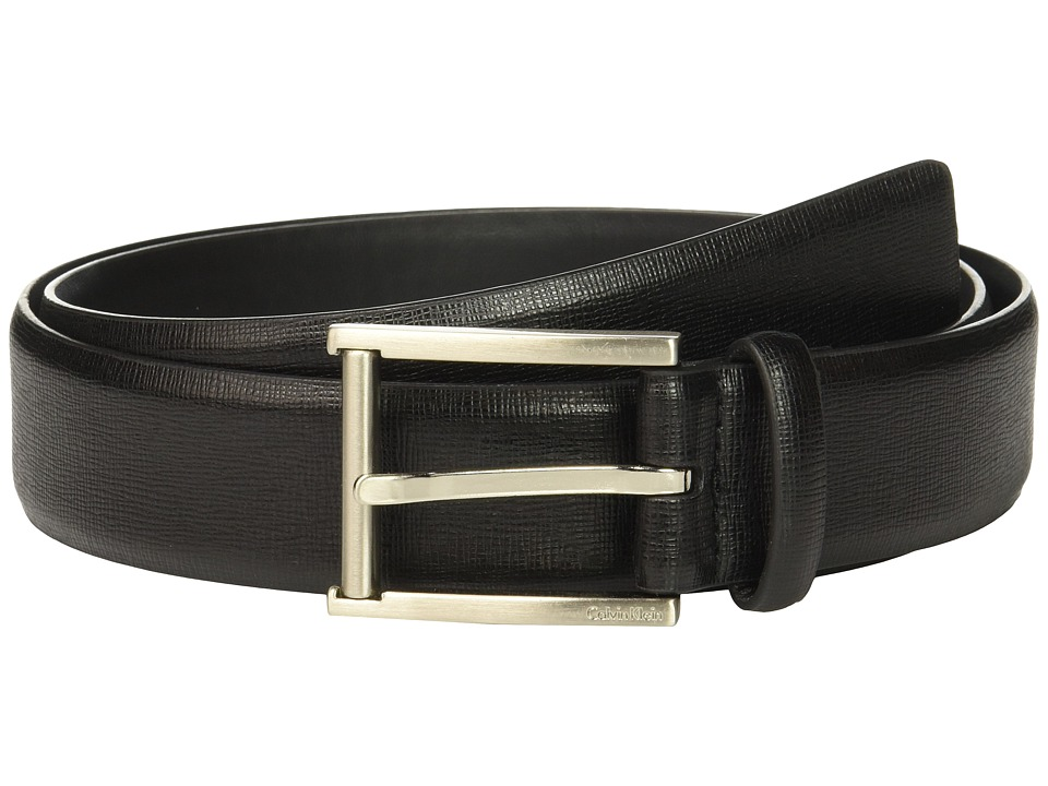 Calvin Klein - 35mm Belt w/ Roller Bar Harness Buckle (Black) Men's Belts