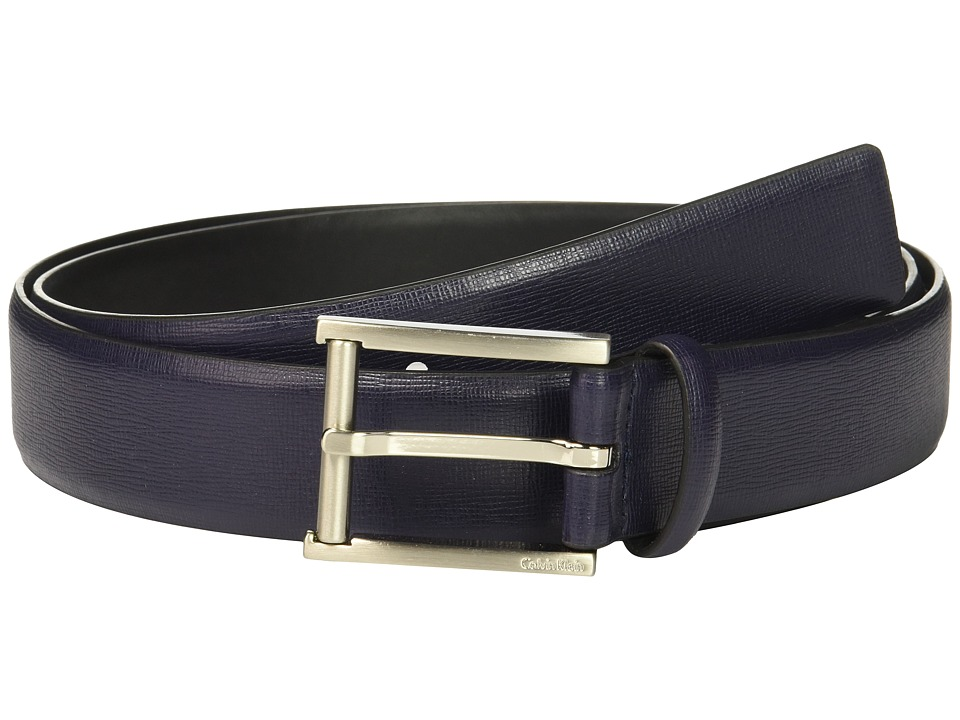 Calvin Klein - 35mm Belt w/ Roller Bar Harness Buckle (Ink) Men's Belts